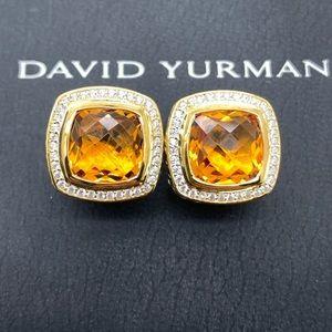 David Yurman SS 18K 11mm Citrine Albion Earrings